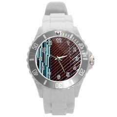 Red And Black High Rise Building Round Plastic Sport Watch (l)