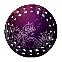 Purple Lotus Round Filigree Ornament (two Sides)