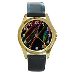 Rainbow Ribbons Round Gold Metal Watch by Nexatart
