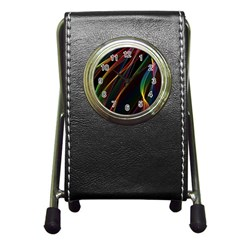 Rainbow Ribbons Pen Holder Desk Clocks by Nexatart