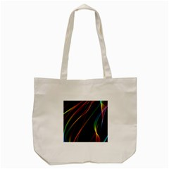Rainbow Ribbons Tote Bag (cream) by Nexatart