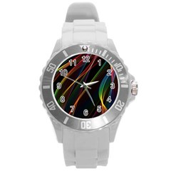 Rainbow Ribbons Round Plastic Sport Watch (l) by Nexatart