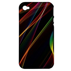Rainbow Ribbons Apple Iphone 4/4s Hardshell Case (pc+silicone) by Nexatart