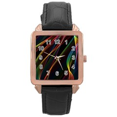 Rainbow Ribbons Rose Gold Leather Watch  by Nexatart