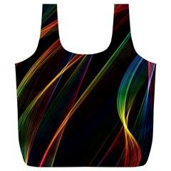 Rainbow Ribbons Full Print Recycle Bags (l)  by Nexatart