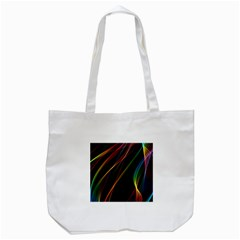 Rainbow Ribbons Tote Bag (white) by Nexatart