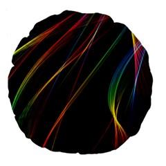 Rainbow Ribbons Large 18  Premium Flano Round Cushions by Nexatart