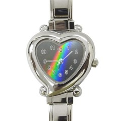 Rainbow Color Spectrum Solar Mirror Heart Italian Charm Watch