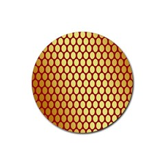 Red And Gold Effect Backing Paper Rubber Coaster (round)