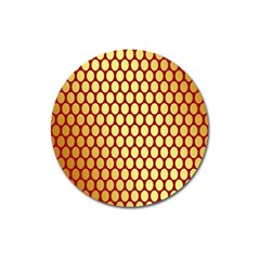 Red And Gold Effect Backing Paper Magnet 3  (round)