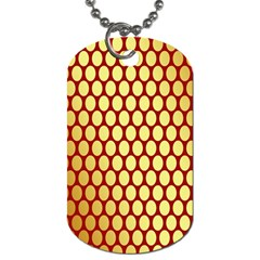 Red And Gold Effect Backing Paper Dog Tag (one Side)