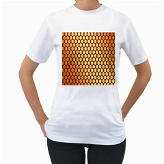 Red And Gold Effect Backing Paper Women s T Shirt (white)