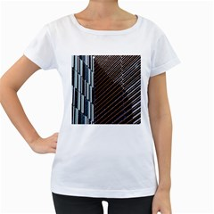 Red And Black High Rise Building Women s Loose Fit T Shirt (white)