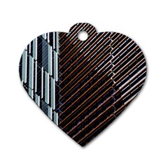 Red And Black High Rise Building Dog Tag Heart (two Sides)