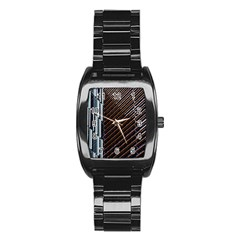 Red And Black High Rise Building Stainless Steel Barrel Watch