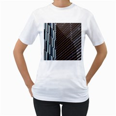 Red And Black High Rise Building Women s T Shirt (white)