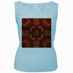 Red Tile Background Image Pattern Women s Baby Blue Tank Top by Nexatart