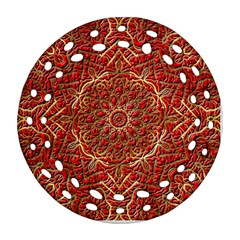 Red Tile Background Image Pattern Ornament (round Filigree)