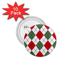 Red Green White Argyle Navy 1 75  Buttons (10 Pack)