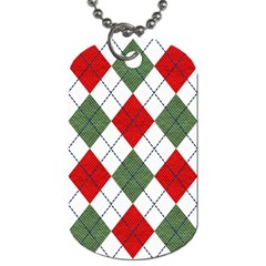 Red Green White Argyle Navy Dog Tag (two Sides) by Nexatart
