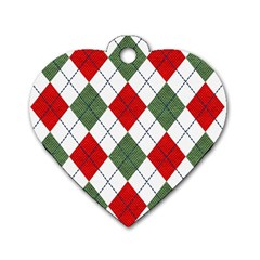 Red Green White Argyle Navy Dog Tag Heart (one Side) by Nexatart