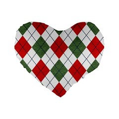Red Green White Argyle Navy Standard 16  Premium Heart Shape Cushions