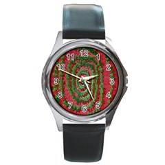 Red Green Swirl Twirl Colorful Round Metal Watch