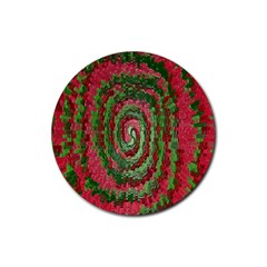 Red Green Swirl Twirl Colorful Rubber Coaster (round)