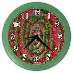 Red Green Swirl Twirl Colorful Color Wall Clocks by Nexatart