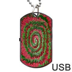 Red Green Swirl Twirl Colorful Dog Tag Usb Flash (one Side)