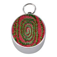 Red Green Swirl Twirl Colorful Mini Silver Compasses