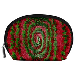 Red Green Swirl Twirl Colorful Accessory Pouches (large)