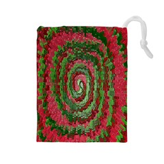 Red Green Swirl Twirl Colorful Drawstring Pouches (large)