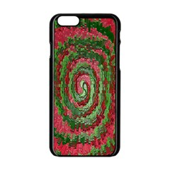 Red Green Swirl Twirl Colorful Apple Iphone 6/6s Black Enamel Case by Nexatart