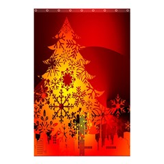 Red Silhouette Star Shower Curtain 48  X 72  (small)