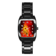 Red Silhouette Star Stainless Steel Barrel Watch