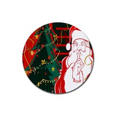 Santa Clause Xmas Rubber Round Coaster (4 Pack)