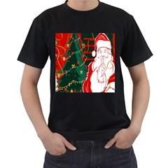 Santa Clause Xmas Men s T Shirt (black) (two Sided)