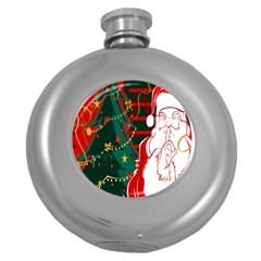 Santa Clause Xmas Round Hip Flask (5 Oz)