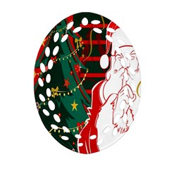 Santa Clause Xmas Oval Filigree Ornament (two Sides)