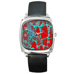 Red Marble Background Square Metal Watch