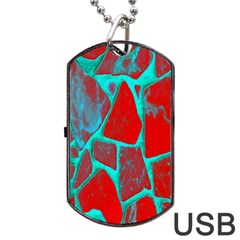 Red Marble Background Dog Tag USB Flash (Two Sides) by Nexatart