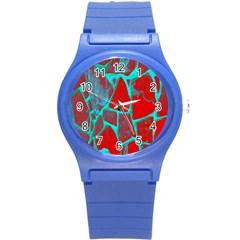 Red Marble Background Round Plastic Sport Watch (s)
