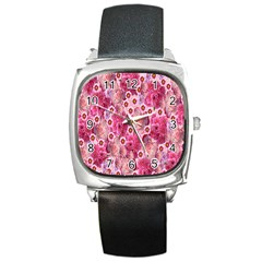 Roses Flowers Rose Blooms Nature Square Metal Watch