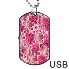 Roses Flowers Rose Blooms Nature Dog Tag Usb Flash (one Side)