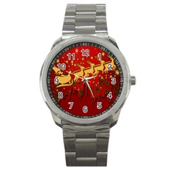 Santa Christmas Claus Winter Sport Metal Watch by Nexatart