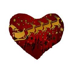 Santa Christmas Claus Winter Standard 16  Premium Heart Shape Cushions by Nexatart