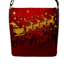 Santa Christmas Claus Winter Flap Messenger Bag (l)