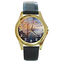 San Francisco Round Gold Metal Watch by Nexatart