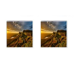 Scotland Landscape Scenic Mountains Cufflinks (square) by Nexatart
